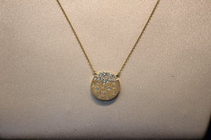 14k Yellow Gold Diamond Flush Set Disc Pendant with Extender