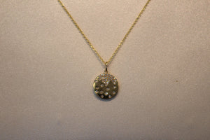 14k Yellow Gold Small Diamond Flush Set Disc Pendant with Extender