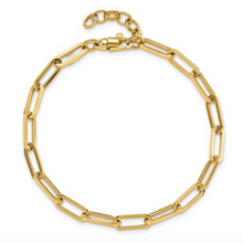 "Load image into Gallery viewer, 14k Yellow Gold Elongated Rectangle Link Polished 7.5"" Bracelet"