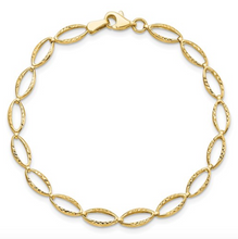 "Load image into Gallery viewer, 14k Yellow Gold Polished Diamond Cut Marquis Shaped Link 7"" Bracelet"
