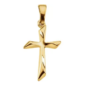 14k Yellow Gold Small Designer Cross Pendant