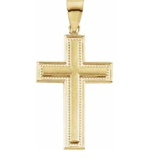 14k Yellow Gold Brushed Milgrain Cross