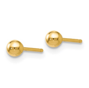 14k Yellow Gold Polished Ball Post Earrings