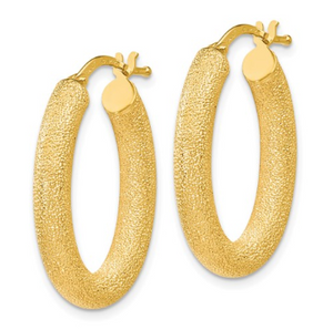 14k Yellow Gold Textured Oval Hoop Earrings