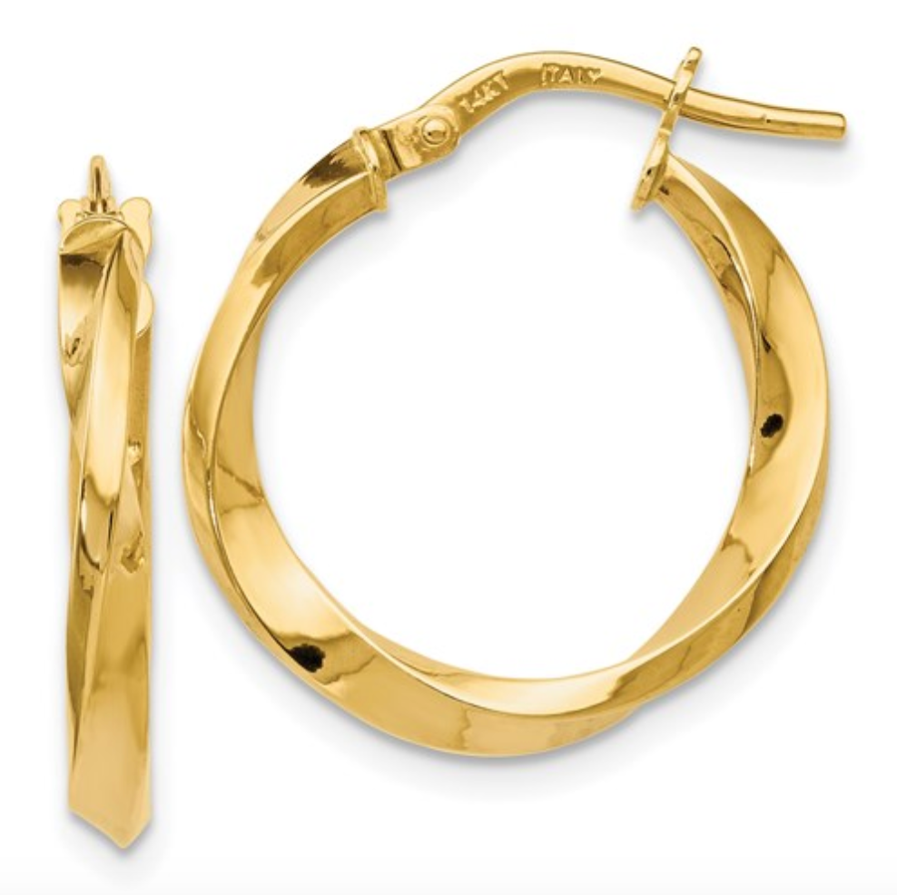14k Yellow Gold Polished Twisted Hoop Earrings