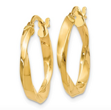 Load image into Gallery viewer, 14k Yellow Gold Polished Twisted Hoop Earrings