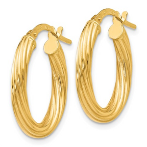 14k Yellow Gold Polished Twisted Oval Hoop Earrings