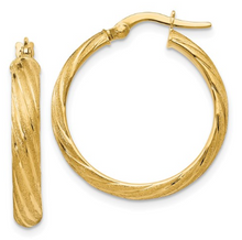 Load image into Gallery viewer, 14k Yellow Gold Polished Scratch-finish Hoop Earrings