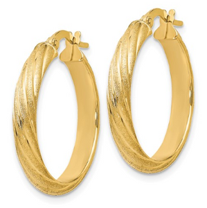 14k Yellow Gold Polished Scratch-finish Hoop Earrings