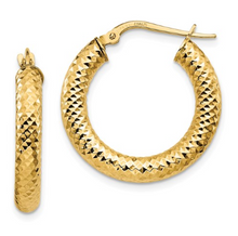 Load image into Gallery viewer, 14k Yellow Gold Diamond-Cut Round Hoop Earrings