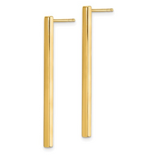 Load image into Gallery viewer, 14k Yellow Gold Polished Post Dangle Bar Earrings