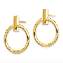 Load image into Gallery viewer, 14k Yellow Gold Polished Post Bar and Circle Dangle Earrings