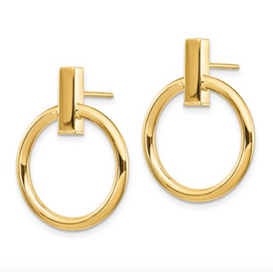 14k Yellow Gold Polished Post Bar and Circle Dangle Earrings