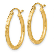 Load image into Gallery viewer, 14k Yellow Gold Diamond Cut Hinged Hoop Earrings