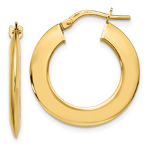 Load image into Gallery viewer, 14k Yellow Gold Beveled Hoop Earrings
