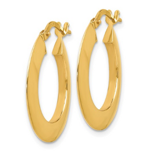 14k Yellow Gold Beveled Hoop Earrings
