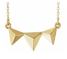 Load image into Gallery viewer, 14k Yellow Gold Triple 3D Pyramid Necklace
