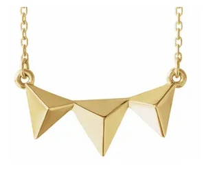 14k Yellow Gold Triple 3D Pyramid Necklace