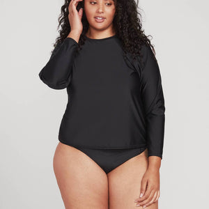 SIMPLY CORE LONG SLEEVE RASHGUARD PLUS SIZE - BLACK