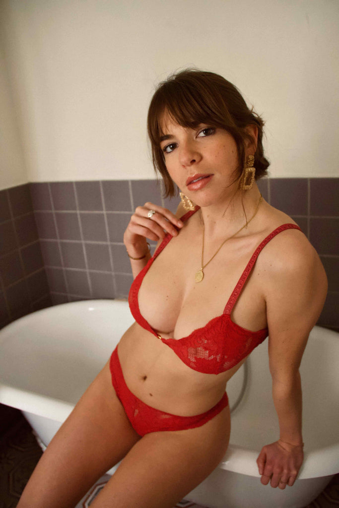 Ensemble lingerie dentelle rouge - Mood Paris