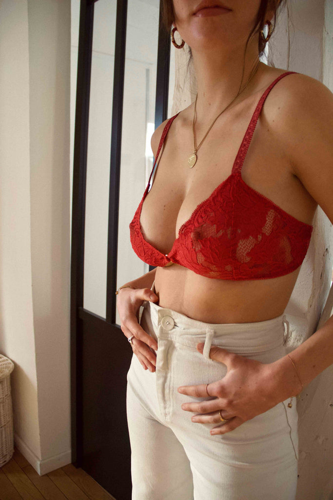 Triangle lingerie dentelle rouge - Mood Paris