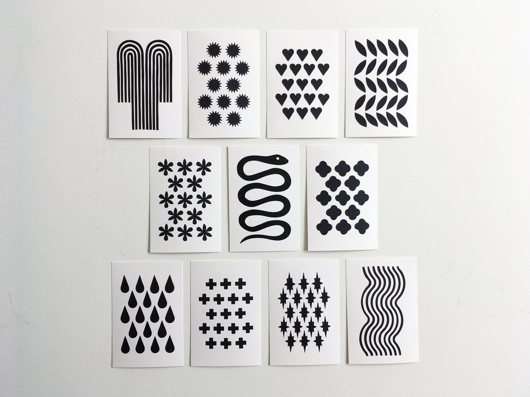 FORTUNE - Set of 11 Black + White Postcards