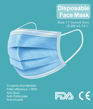 Load image into Gallery viewer, 50 Pack 3-Ply Disposable Mask