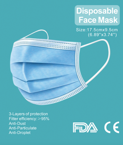 50 Pack 3-Ply Disposable Mask