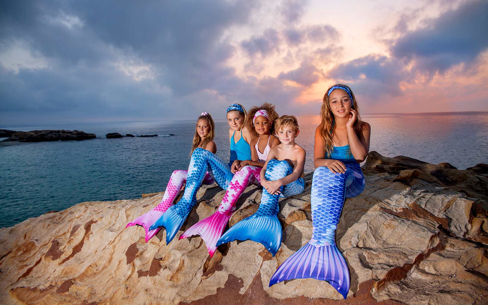 Royal Koi Mermaids with Monofins from the UK. Fin Fun Mermaid Swimming Costumes for Girls