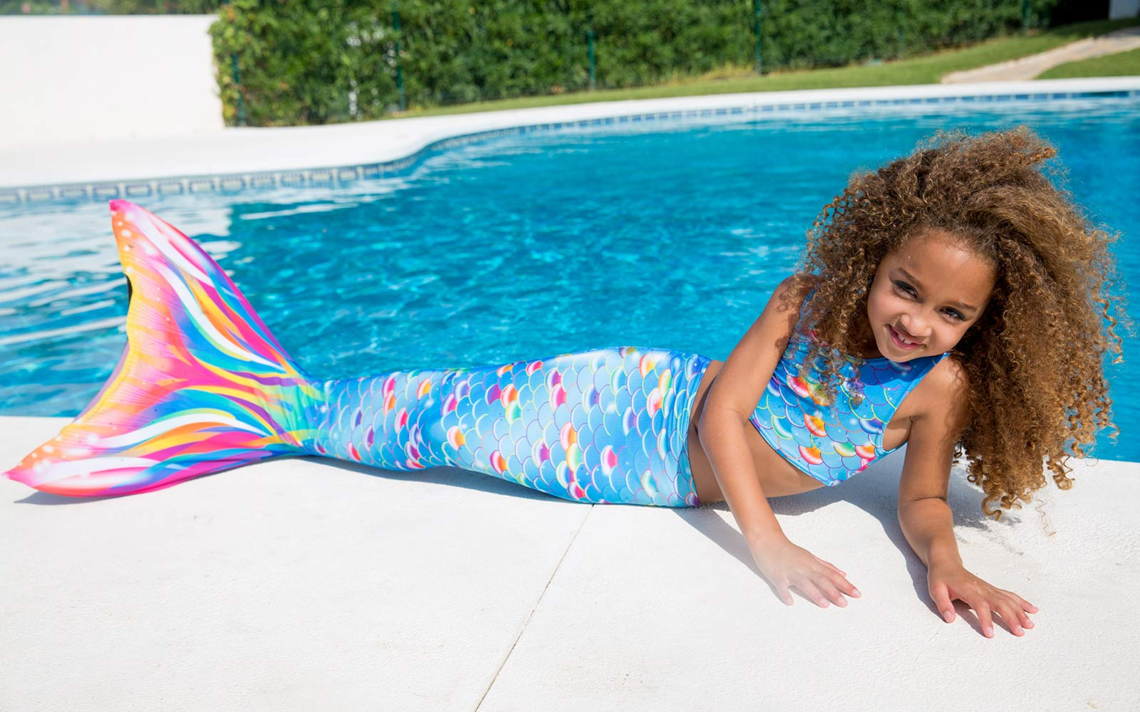 Rainbow Mermaid Tail and Monofin from Planet Mermaid UK - Real Mermaid Swimming for Girls