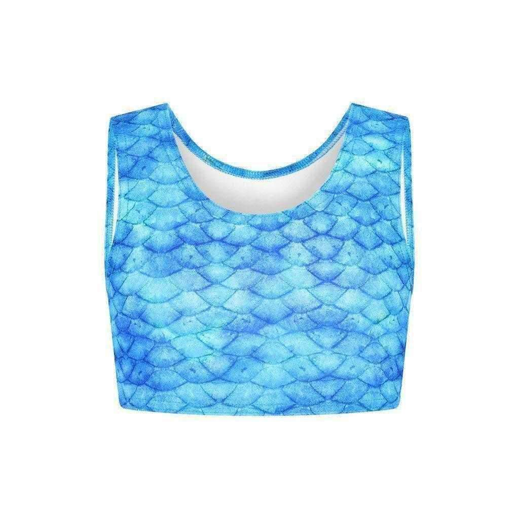 Frozen Aqua Mermaid-Crop Top - Meerjungfrauen Tail-UK