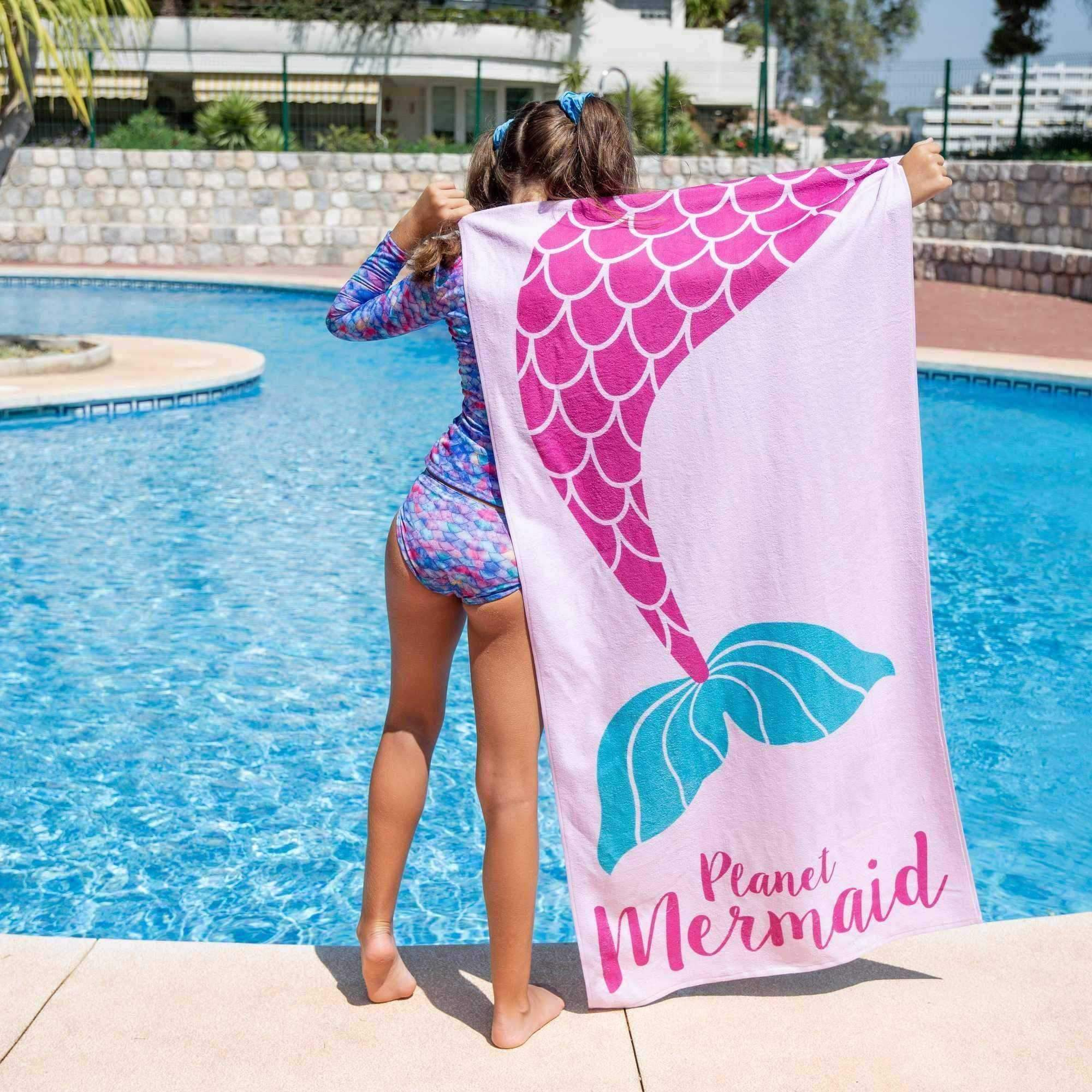 Planet Mermaid Towel featuring a Mermaid Tail. 100% Cotton swimming pool or beach towel