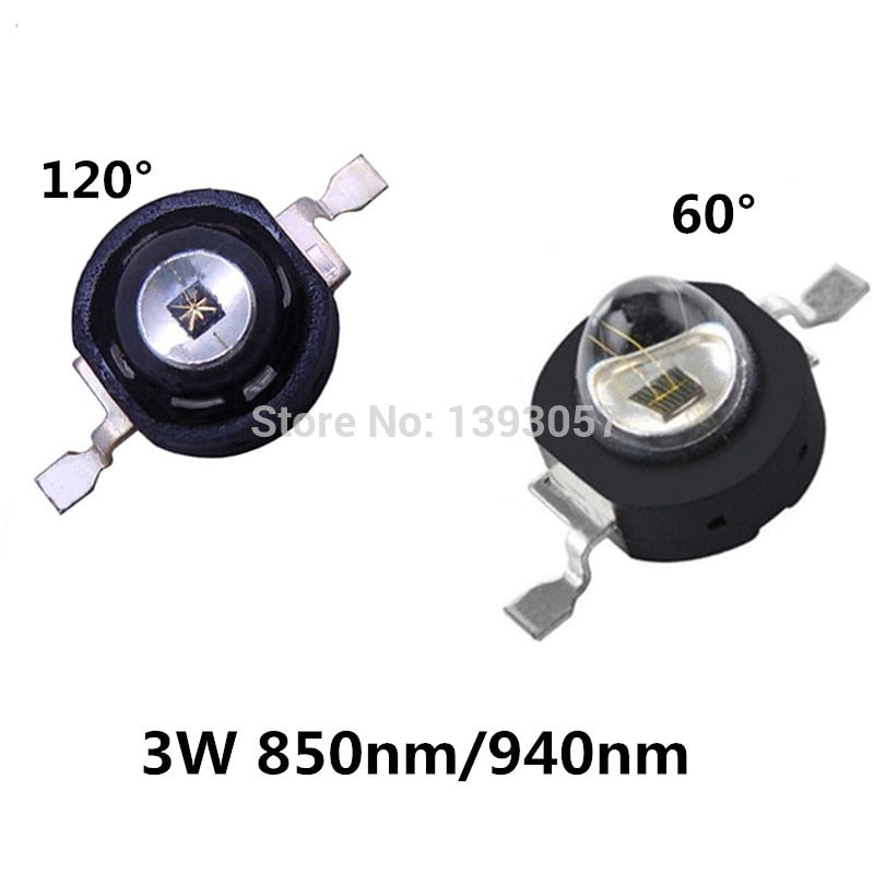 5 PCS 3W Infrared IR High Power LEDs Emitter CCTV Camera IR Diode for Security Black LEDs  850nm 940nm 3W 700mA