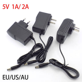AC DC 5v 1A 2A 2000ma adapter power supply adaptor EU AU US PLUG 5.5MM*2.1mm wall charger for led strip light lamp CCTV camera