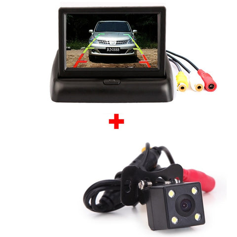 BYNCG 4.3 Inch TFT LCD Car Monitor Foldable Monitor Display Reverse Camera Parking System for Car Rearview Monitors NTSC