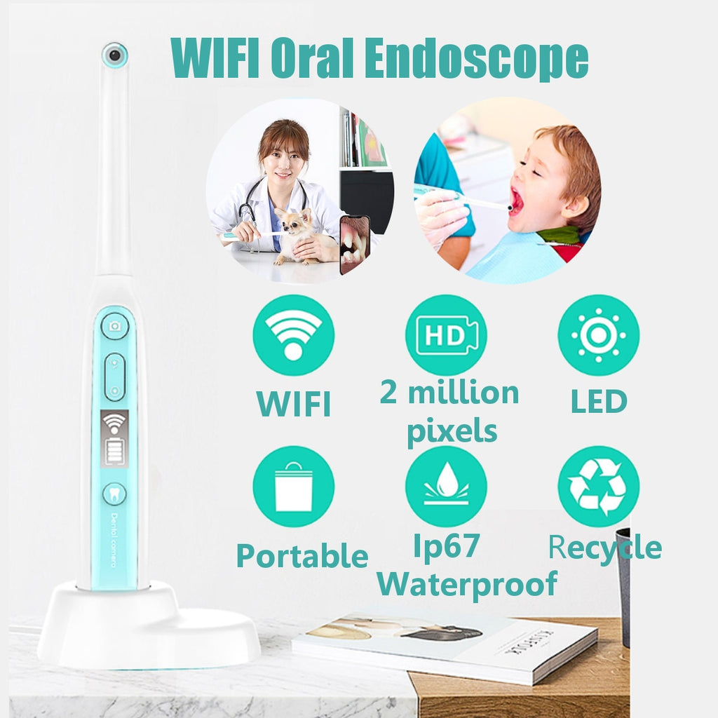 WiFi Wireless Dental Camera HD Intraoral Endoscope With 8 Led lights Inspection for Dentist Oral Real-time Video Dental Tools