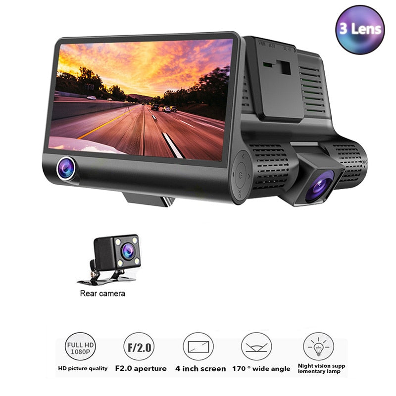 newTOSPRA 3 Lens Car DVR Cameras 4.0 Inch Full HD 1080P Wide Angle Dual Lens With Rearview Camera Video Recorder Car Dash Camera