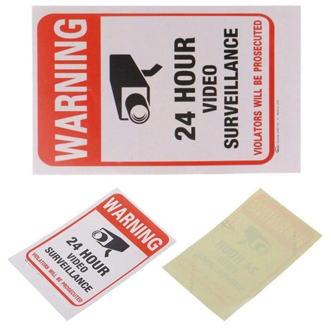 5pcs 24 Hour Video Monitor Warning 15x10cm Sticker Camera Stickers Signage Outdoor Warning And Safety Signs Easy To Disassemble