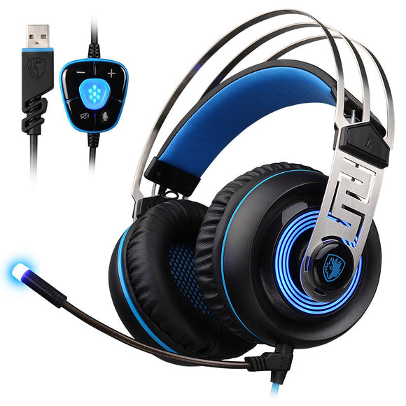 SADES A7 USB Gaming Headphone Wired Headset 7.1 Virtual Sound With Microphone Intelligent Noise Cancelling LED Light