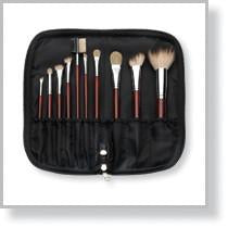 50098 10-Piece Maroon Brush Set with Zippered Case, Black