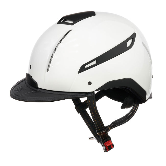 Reithelm FLUO COLOR Weiß mit schwarzem Leder von JIN Stirrup JS Italia, CAP FLUO COLOR White with black leather, Reitkappe, Helm, riding helmet