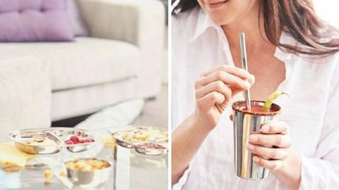 Stainless steel cup straw and entertaining platter