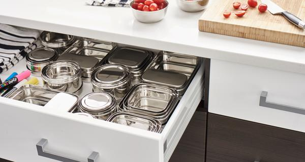 Stainless Steel Food containers in drawer