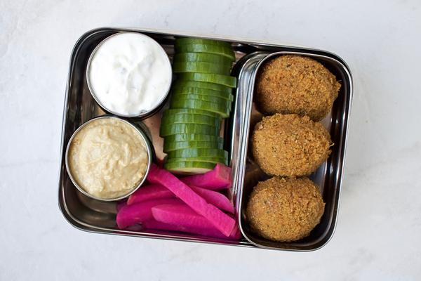 Falafel and pickled turnip packed lunch