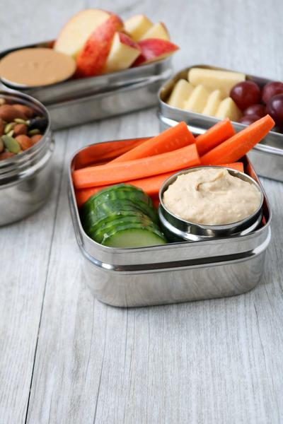 Veggies and Hummus in food container