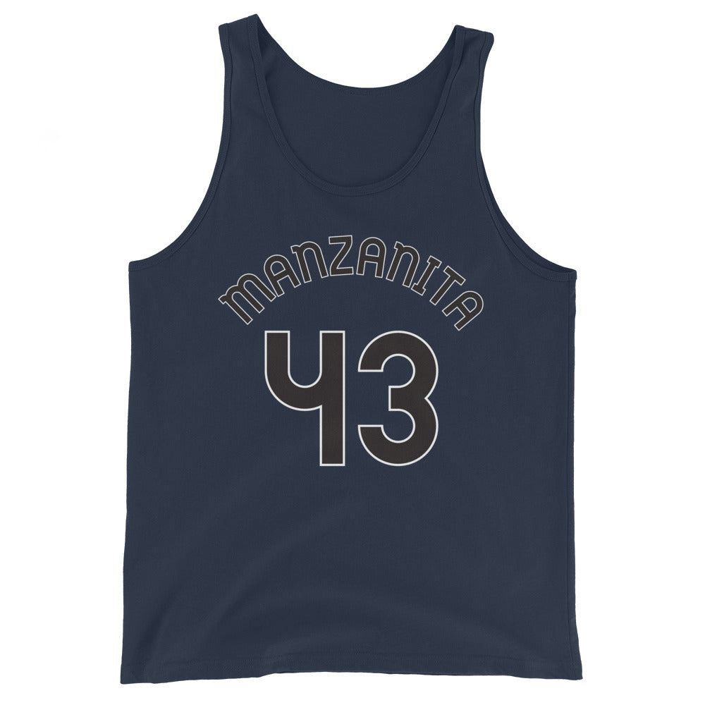 Tank Top with Manzanita and 43 printed on the front