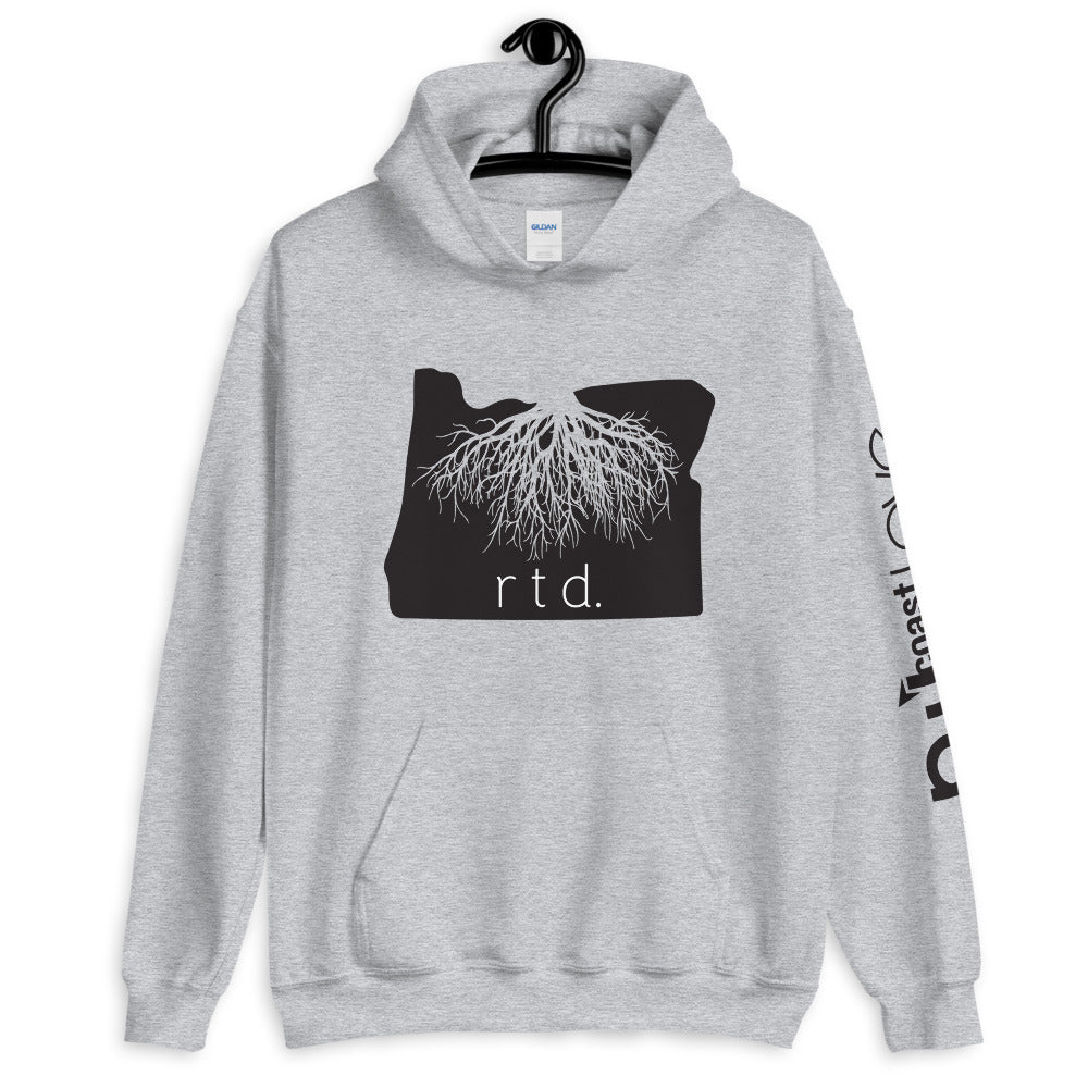 Rooted Oregon Unisex Hoodie, Black Graphic