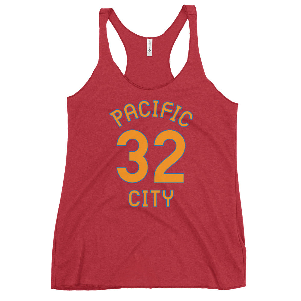 Pacific City, Oregon Women's Racerback Tank - Milepost Jersey, Red Letters