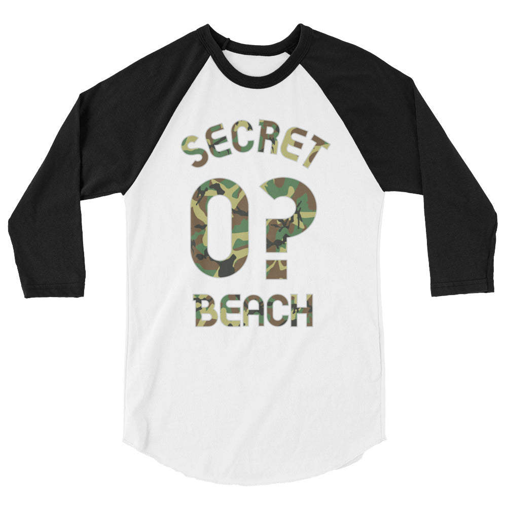 Baseball Jersey with Secret Beach and 0? printed on front