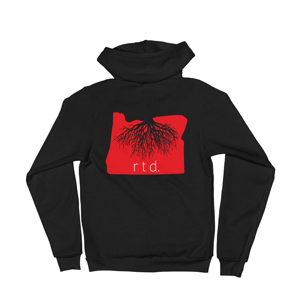 Rooted Oregon Zip-Up Unisex Hoodie, Red/White Graphic